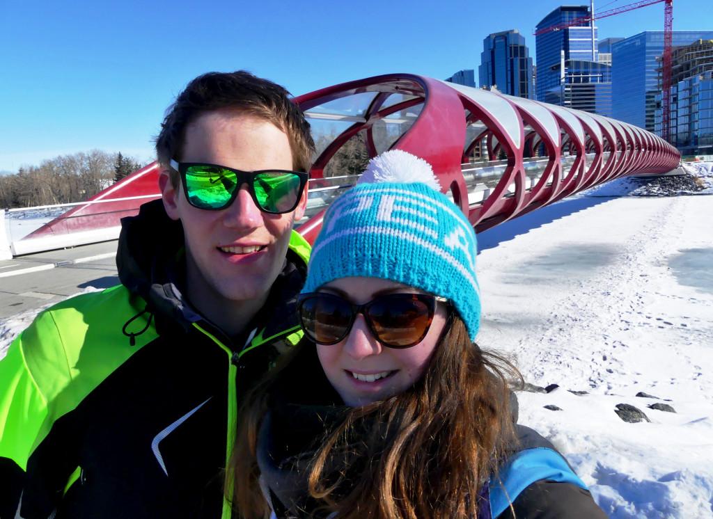 Calgary Fußgängerbrücke selfie