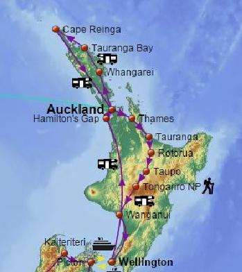 Route durch Nordinsel Neuseeland