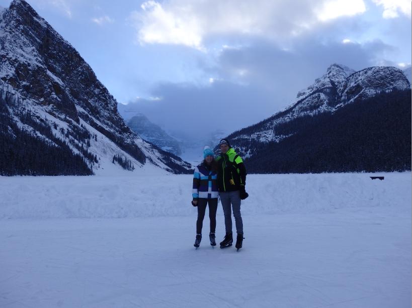 Eislaufen Lake Louise Kanada Winter Schnee