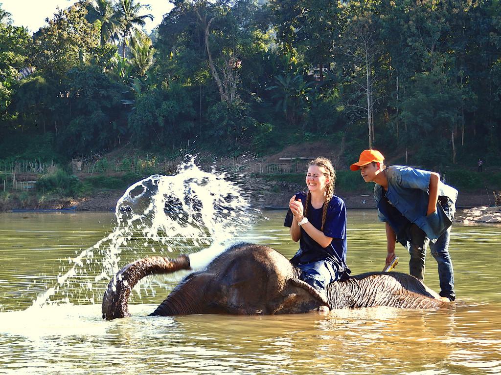 Baden mit Elefanten spritzt Wasser