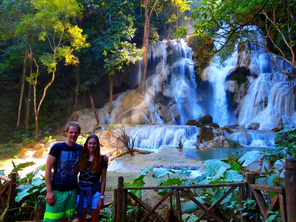 Kuang Si Waterfalls Wasserfall couple Luang Prabang