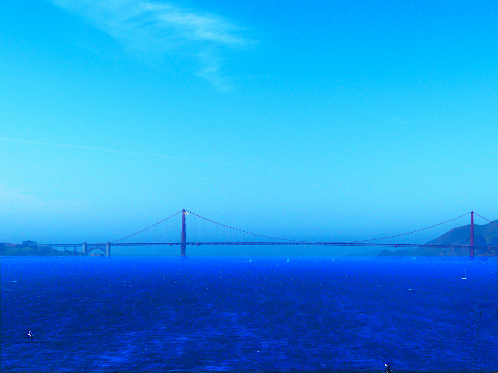 view from Alcatraz auf Golden Gate Bridge